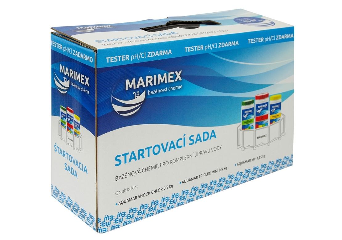 Marimex AquaMar chemický set Start – 11307010; AquaMar Shock Chlor 0,9kg, AquaMar Triplex MINI 0,9kg, AquaMar pH minus 1,35kg, Tabletový tester na pH a Chlor