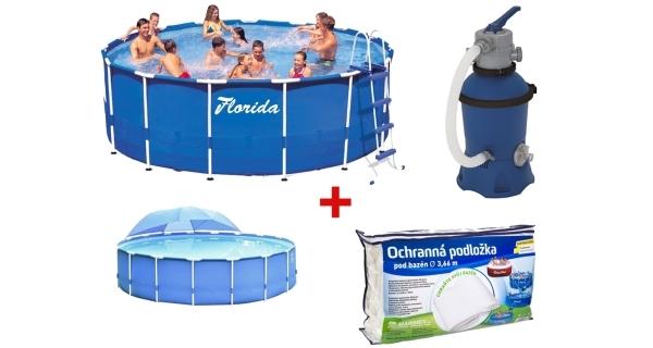 Bazén Florida 3,66x0,76 m. s filtrací Prostar 2 + podložka + zastínění