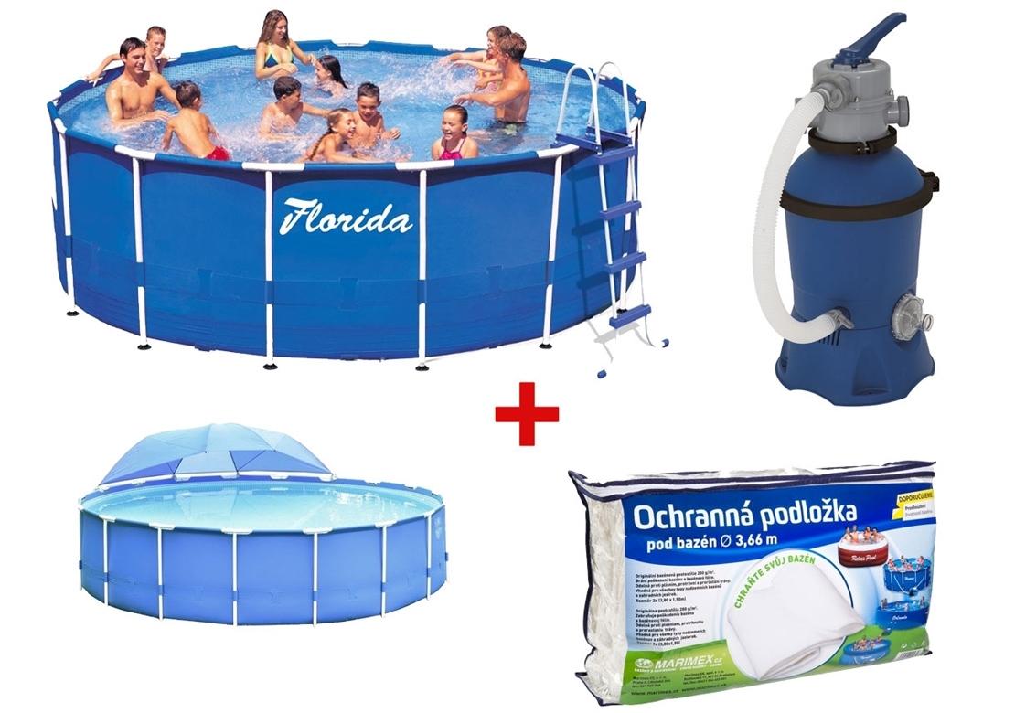 Marimex Bazén Florida 3,66x0,76 m. s filtrací Prostar 2 + podložka + zastínění - 19900022