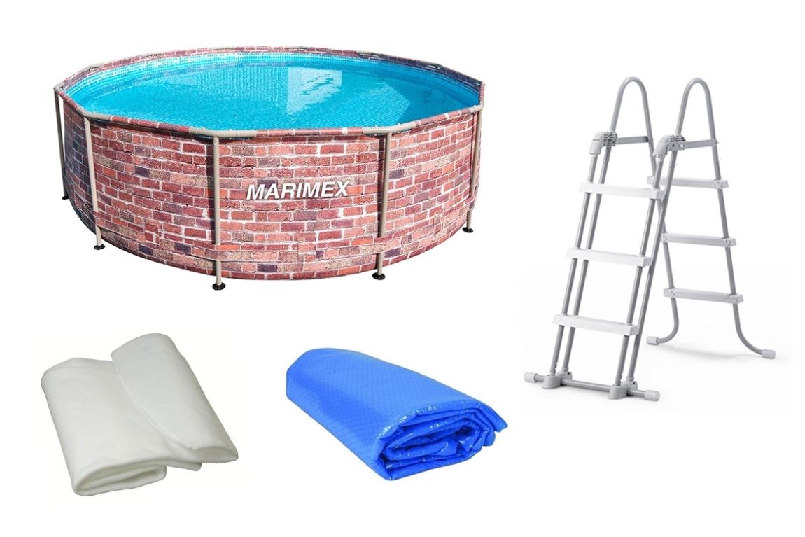 Marimex Bazén Florida 3,66x0,99 m. bez filtrace + příslušenství - motiv CIHLA - 19900086