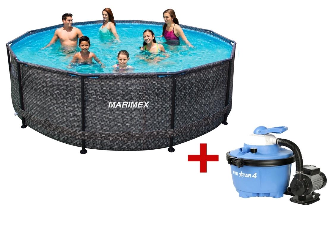 Marimex Bazén Florida 3,66x0,99 m - motiv RATAN s pískovou filtrací - 19900076