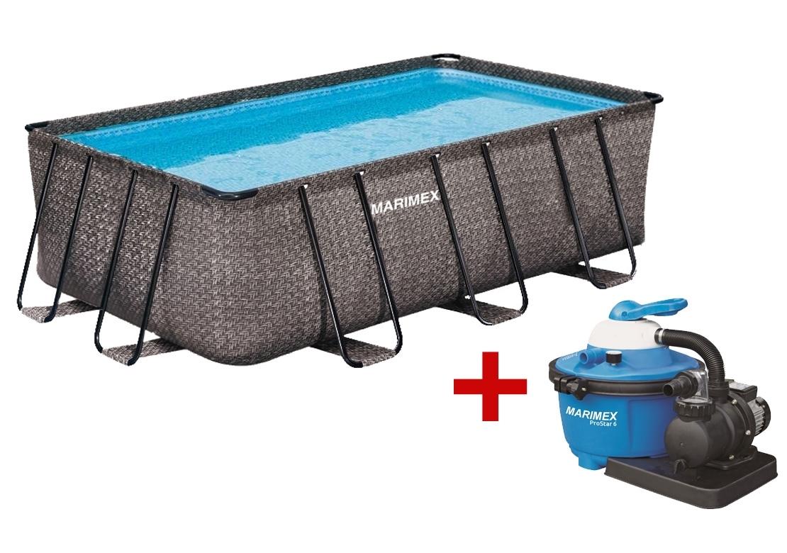 Marimex Bazén Florida Premium 2,15x4,00x1,22 m s pískovou filtrací - motiv RATAN - 19900083