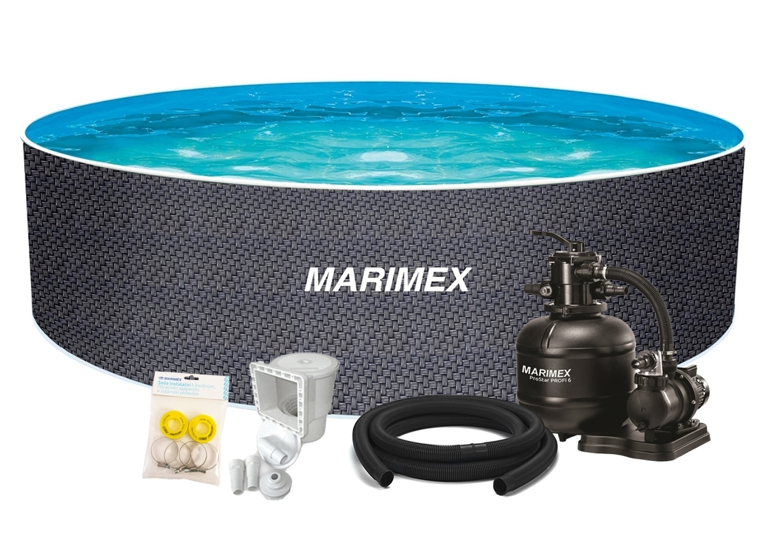 Marimex Bazén Orlando Premium DL 4,60x1,22 m s pískovou filtrací a příslušenstvím - motiv RATAN - 19900128