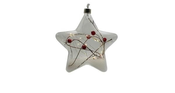 Crystal závěsná hvězda s cesmínou 15 LED