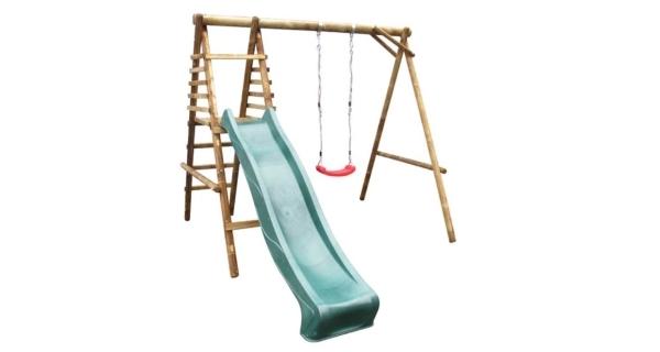 Dětská dřevěná houpačka Marimex 1 se skluzavkou