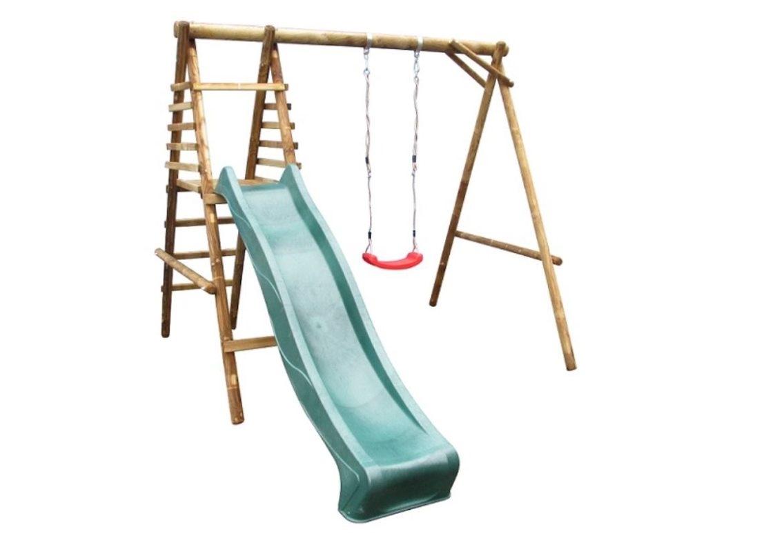Marimex Dětská dřevěná houpačka Marimex 1 se skluzavkou - 11640362