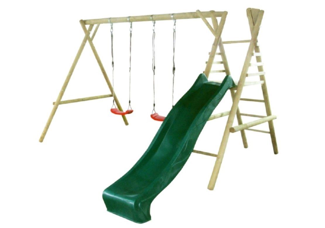 Marimex Dětská dřevěná houpačka Marimex 11 se skluzavkou - 11640375