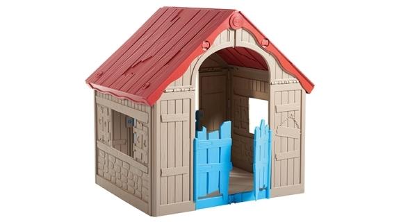 Dětský domeček Foldable Play House - červená + žlutá + světle modrá