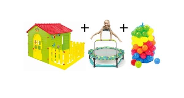 Dětský domeček + trampolína 4v1 Frogs + plastové míčky