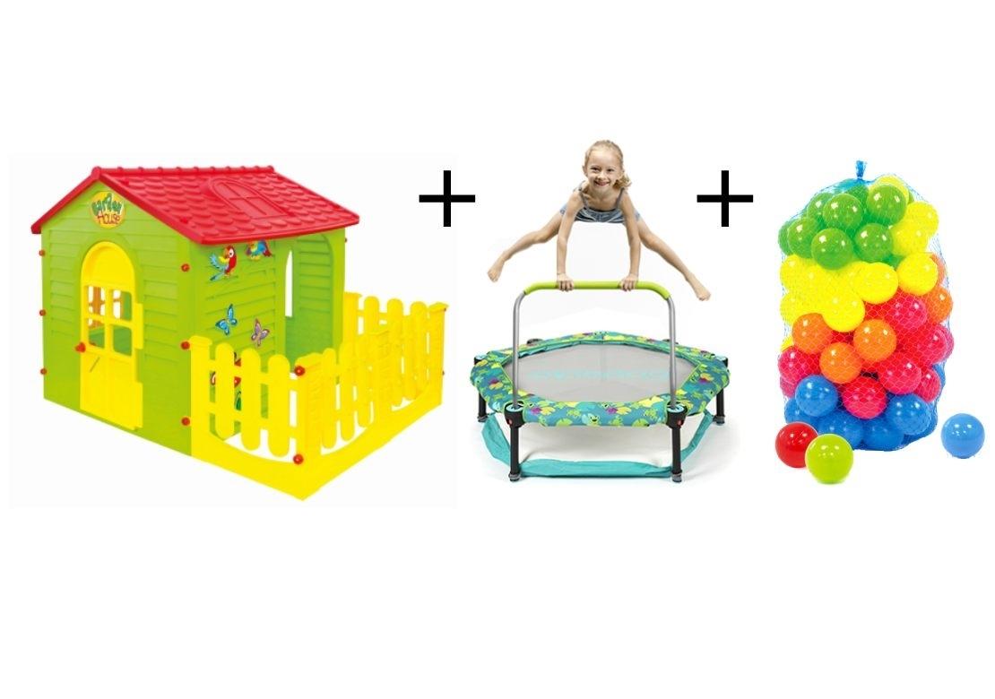 Marimex Dětský domeček + trampolína 4v1 Frogs + plastové míčky - 19900094