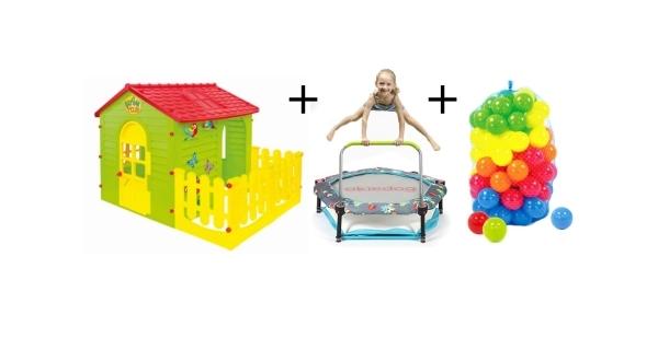 Dětský domeček + trampolína 4v1 Superheroes + plastové míčky