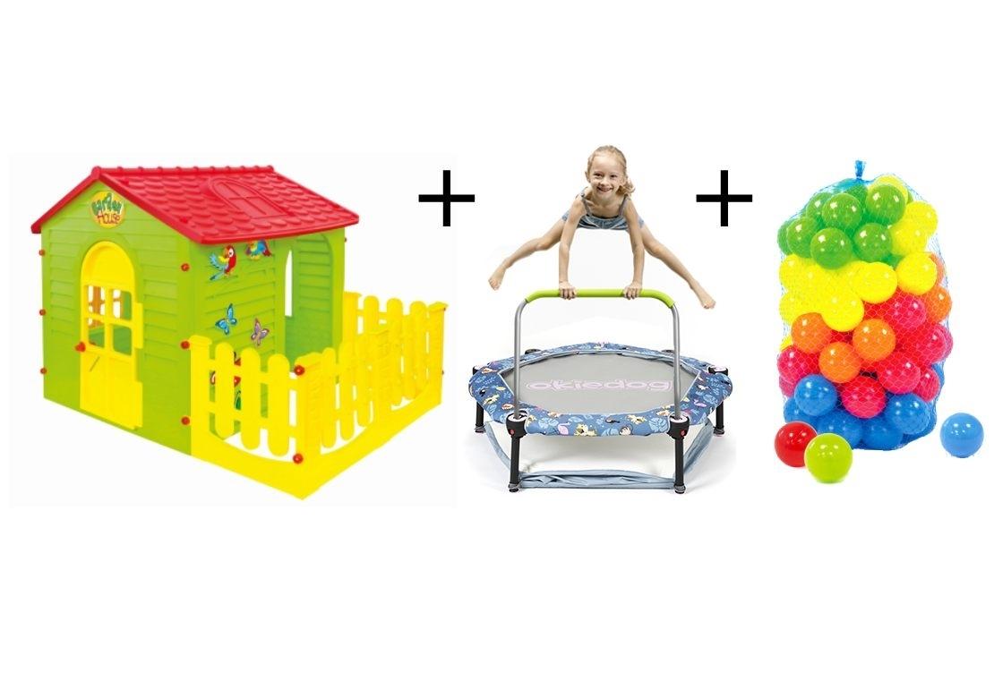 Marimex Dětský domeček + trampolína 4v1 Tropic Jungle + plastové míčky - 19900095