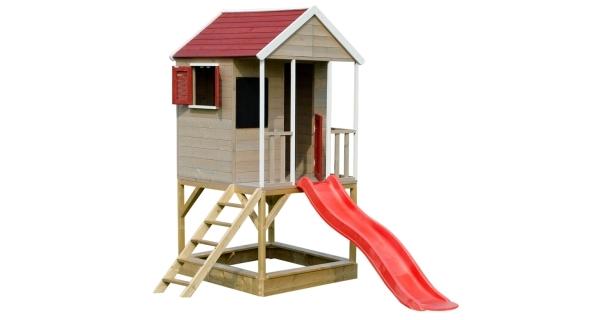 Dětský dřevěný domeček Veranda se skluzavkou