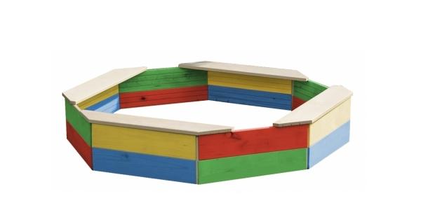 Dřevěné pískoviště osmihranné barevné
