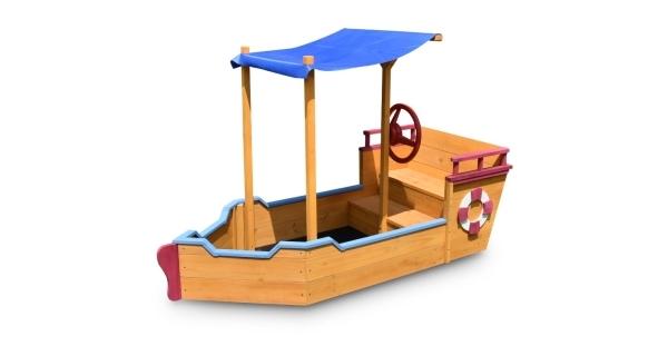 Dřevěné pískoviště - tvar loď