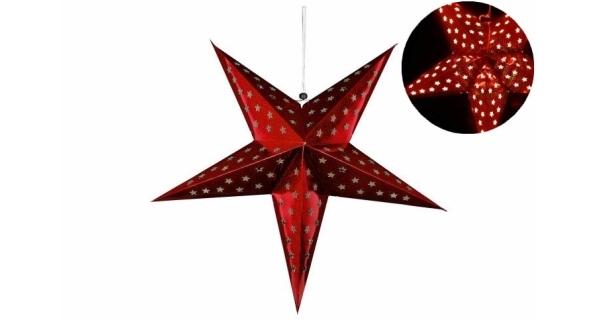 Hvězda 60 cm - 10 LED - červená - časovač