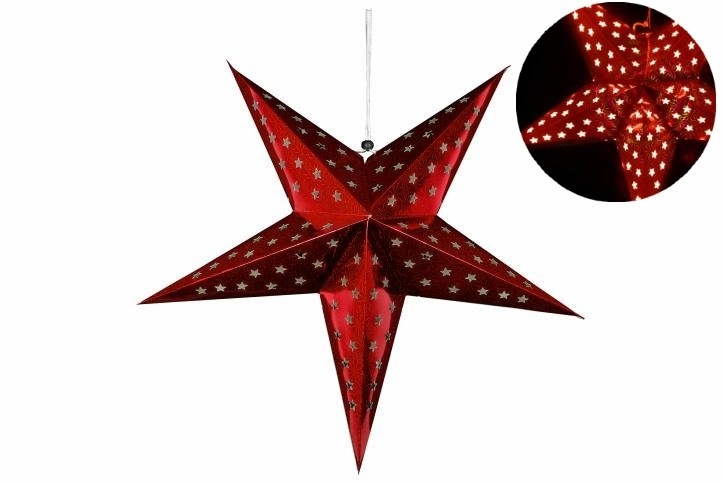 Hvězda 60 cm - 10 LED - červená - časovač - 18000166