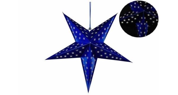 Hvězda 60 cm - 10 LED - modrá - časovač
