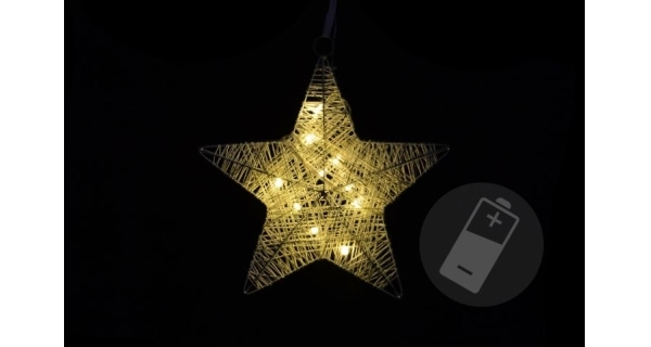 Hvězda vánoční 25 cm - ratan - 10 LED