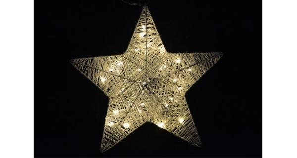 Hvězda vánoční 35 cm - ratan - 30 LED