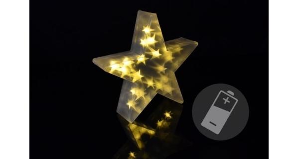 Hvězda vánoční 3D 35 cm - 20 LED - teplá bílá