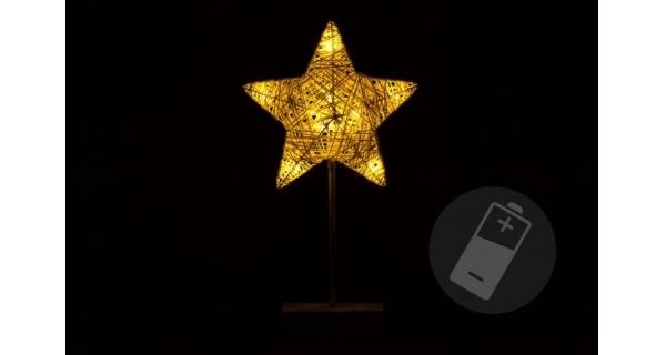 Hvězda vánoční stojící 10 LED - zlatá
