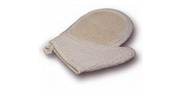 Kombinovaná masážní rukavice- froté/sisal