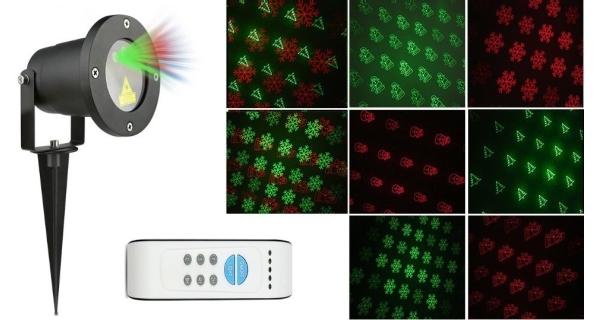 Laserový projektor vánoční - zelená, červená, 8 efektů s časovačem, 20x20m