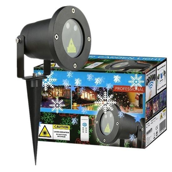Laserový projektor vánoční - zelená, červená, 8 efektů s časovačem, 20x20m - 18000185