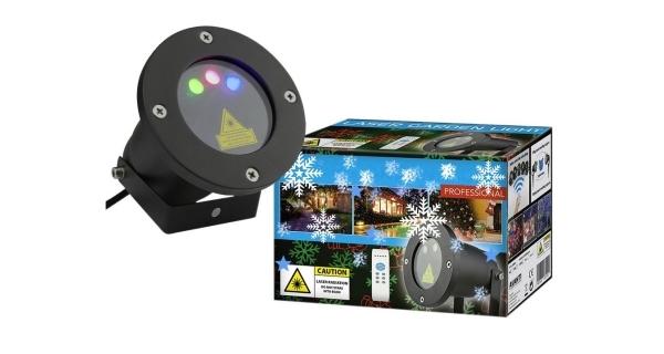 Laserový projektor vánoční - zelená, červená s časovačem, 20 x 20 m