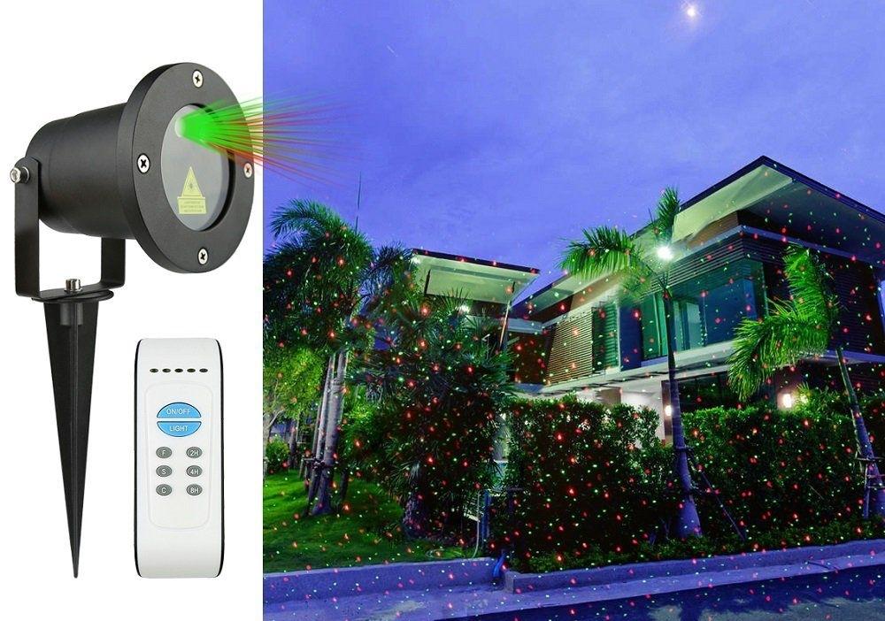 Laserový projektor vánoční - zelená, červená, s časovačem, 20x20m - 18000186