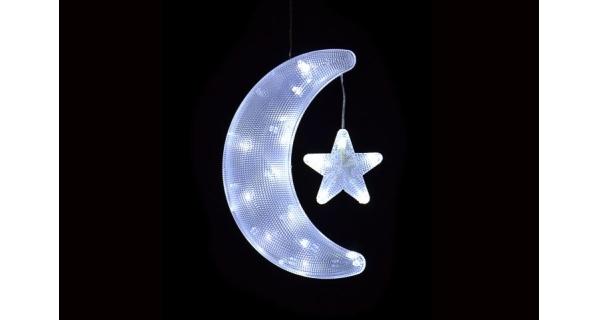 LED dekorace - měsíc a hvězda - studená bílá