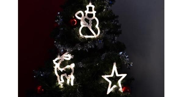 LED dekorace na okno - 3 ks - sob, sněhulák, hvězda