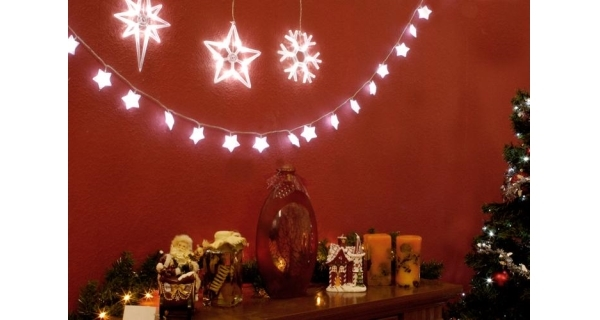 LED dekorace na okno - 3 ks - vločka, hvězdy