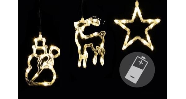 LED dekorace na okno CLEAR - 3 ks - sob, sněhulák, hvězda