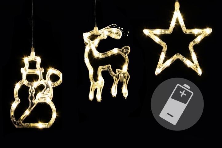 LED dekorace na okno CLEAR - 3 ks - sob, sněhulák, hvězda - 18000414
