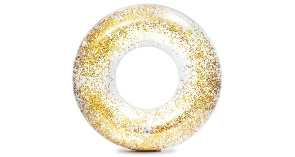 Nafukovací kruh 107 cm - třpytivý zlatý