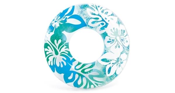 Nafukovací kruh 91 cm - květinové vzory, modrá