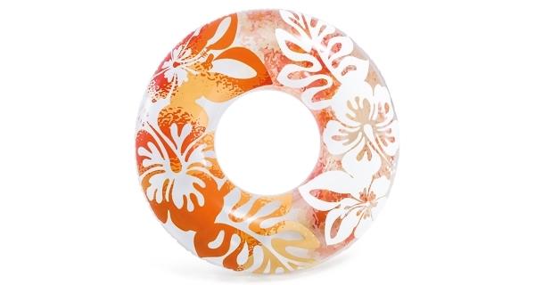 Nafukovací kruh 91 cm - květinové vzory, oranžová