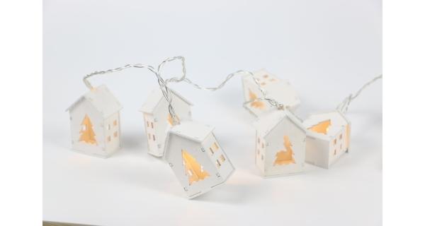 Nature řetěz s domečky 10 LED - bílý