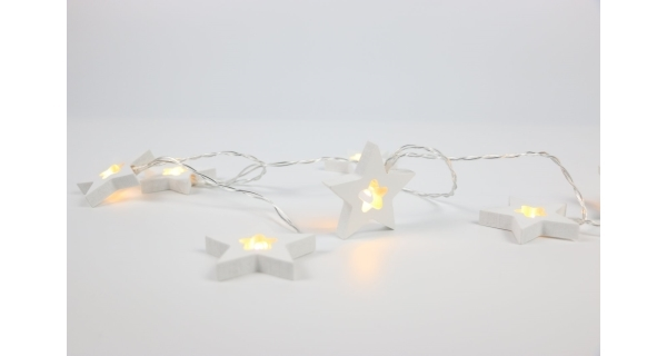 Nature řetěz s hvězdami 10 LED - bílý