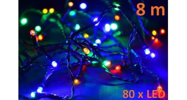 Osvětlení vánoční - LED 8m - barevné