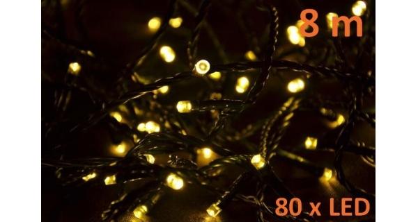 Osvětlení vánoční - LED 8m - teplé bílé