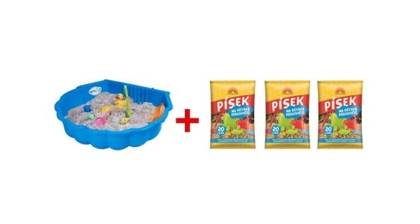 Pískoviště bazének/mušle (1 ks) + písek