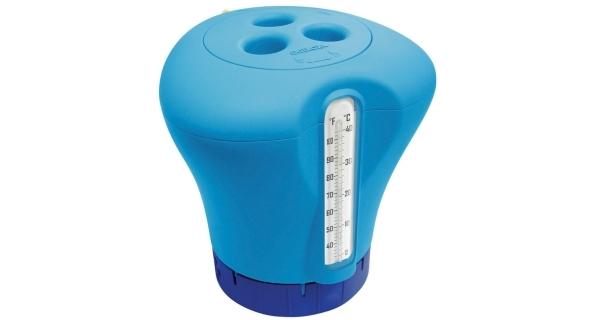 Plovák na chlor s teploměrem - modrá