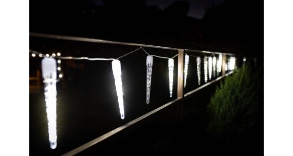Rampouchy s tekoucím efektem 360 LED - studená bílá, 20 ks