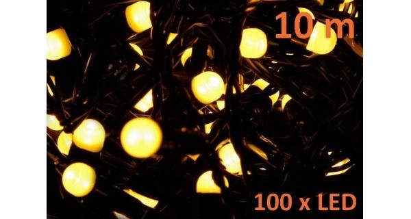 Řetěz 10 m - 100 maxi LED - teplá bílá