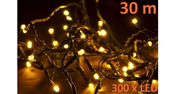 Řetěz 30 m - 300 LED - teplá bílá