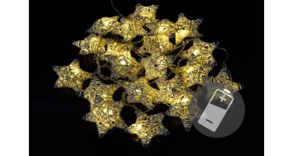 Řetěz hvězdy - ratan - 20 LED - teplá bílá