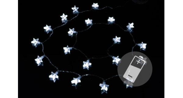 Řetěz LED - hvězdy - studená bílá